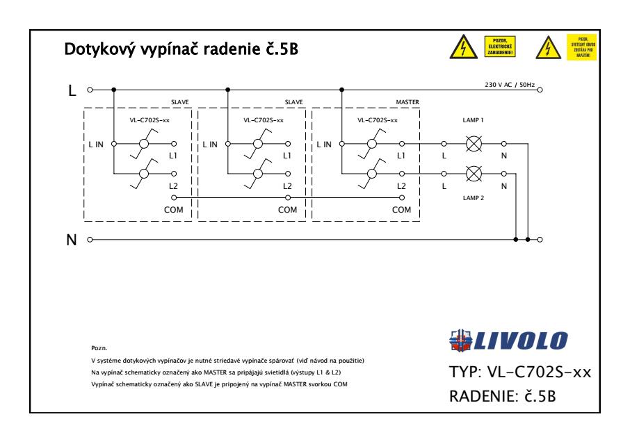 LIVOLO VL-C702S-11 Dotykový vypínač č.5B (6+6) - biely